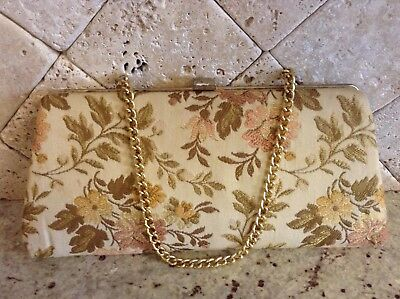 "Vintage Tapestry Clutch Purse with Chain - 5"" x 11"" - Good Condition"