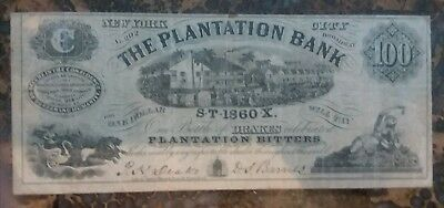 Exremely Rare Plantation Bank New York 1850s Advertising Note $100