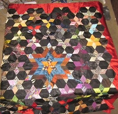 Vintage 1920's Silk Tie hand stitched Quilt Star of David? 4 x 5ft Nice old item