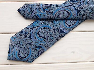 Michelsons UK limited collection extra-long classic width thick paisley silk tie