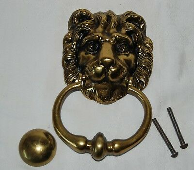 Large Georgian Victorian Lion Head Heavy Solid Brass Door Knocker England