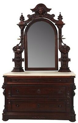 Carved Rosewood Rococo Figural Marble Top Dresser