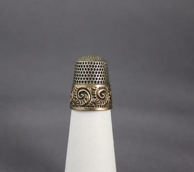 Antique Sterling Silver Size 7 Gold Overlay Thimble 5 Point Star Mark