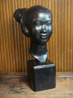 Vintage Asian Chinese Bronze Sculpture Figurine Woman's Bust Signed by Artist