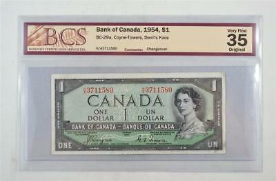 1954 BANK OF CANADA $1 DEVIL FACE BC-29a COYNE TOWERS H/A3711580 GRADED VF35