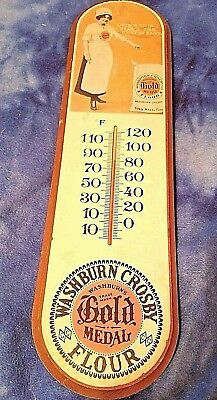 Vintage Washburn Crosby Gold Medal Flour Wooden Advertising Sign w/ Thermometer