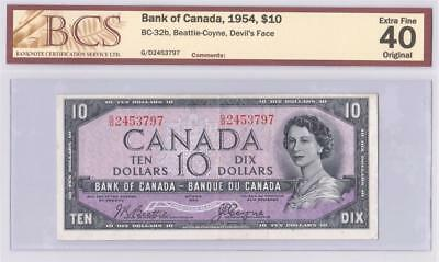 1954 BANK OF CANADA $10 DEVIL FACE BC-32b BEATTIE COYNE G/D2453797 GRADED EF40