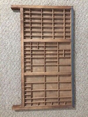 Vtg Wooden Typeset Printing Block Letter Press Shadow Box Drawer Tray