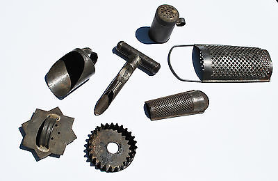 Antique & vintage kitchen tinware, cookie cutters, grater, scope, apple corer