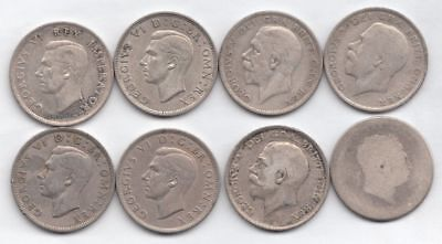 (British Silver) 6 Half Crowns, 1 2 1/2 shilling and 1 ?...99cents...NR!