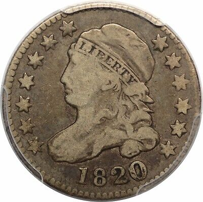 1820 Capped Bust Dime - Large 0 - PCGS F15 - JR-13 R3 - 1 in 10c Recut at Top