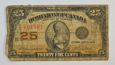 1923 DOMINION OF CANADA 25 CENT SHINPLASTER. 25c 661501. FREE COMBINED SHIPPING