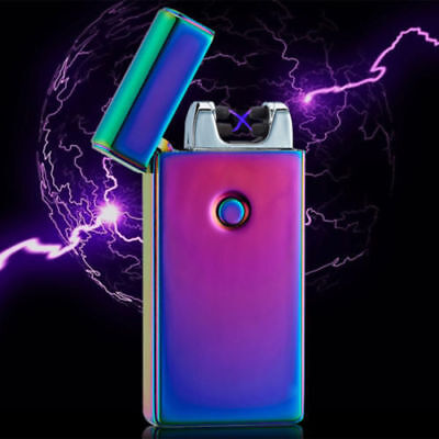 Cigarette Lighter Rechargeable Plasma Windproof USB Electric Flameless Dual Arc