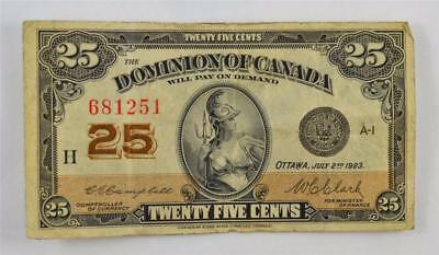 1923 DOMINION OF CANADA 25 CENT SHINPLASTER. 25c 681251. FREE COMBINED SHIPPING