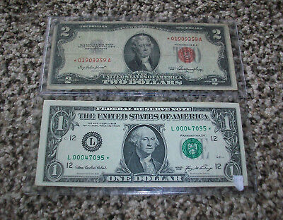 Star Note Lot Red Seal $2 Two Dollar Bill 1953 & $1 One Dollar Bill 2006