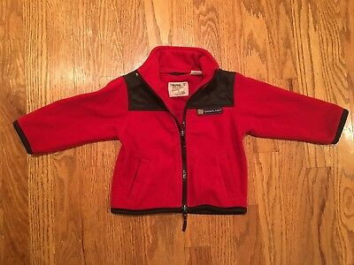 Infant Boys Red Fleece Timberland Zip Up Long Sleeve Jacket Size 18 Months