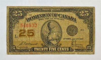 1923 DOMINION OF CANADA 25 CENT SHINPLASTER. 25c 546632. FREE COMBINED SHIPPING