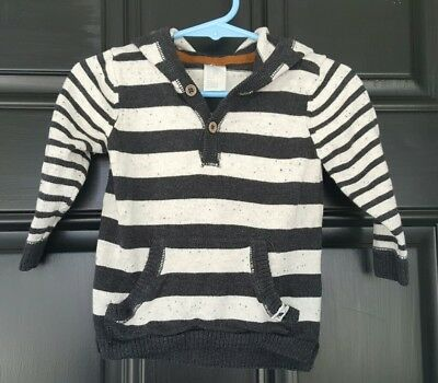 H&M Baby Boy Fall Winter Long Sleeve Striped Sweater Hoodie Size 6-9m