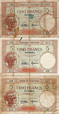 New Caledonia 5 Francs (CA 1926) - Lot of 3 Banknotes - Banque de l'Indochine