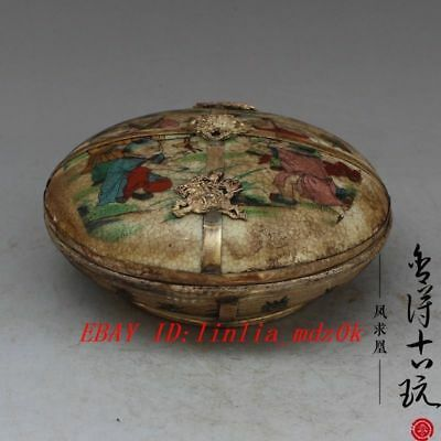 China old  handmade porcelain children play Rouge box