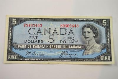 1954 Bank Of Canada $5 Five Dollar Bill. M/c9463443. Free Combined Shipping