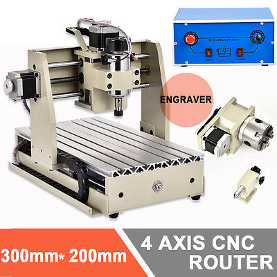 four 4 axis 3020 300W CNC Router cnc engraving milling machine desktop engraver