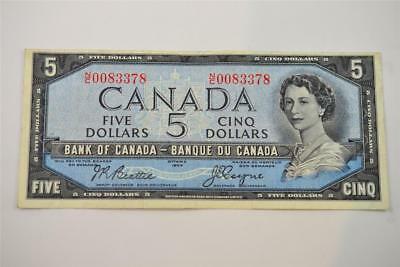 1954 Bank Of Canada $5 Five Dollar Bill. N/c0083378. Free Combined Shipping