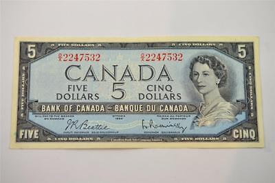 1954 Bank Of Canada $5 Five Dollar Bill. O/x2247532. Free Combined Shipping