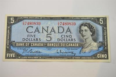 1954 Bank Of Canada $5 Five Dollar Bill. C/s7480839. Free Combined Shipping
