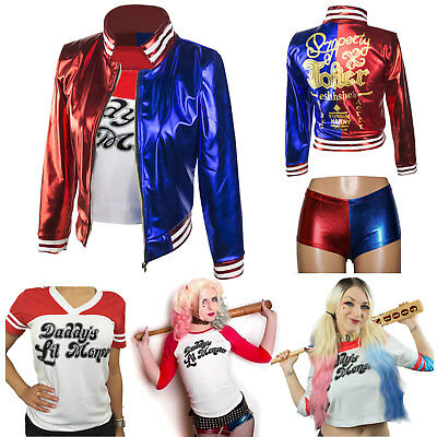Movie Character Harley Quinn Costume Daddy's Coat Lil Monster Jacket Shirt Short