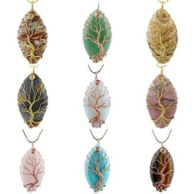 Marquise Gemstone Tree of Life Stone Wire Wrapped Handmade Pendant Fit Necklace