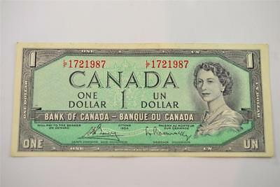 1954 Bank Of Canada $1 One Dollar Bill. L/f1721987. Free Combined Shipping