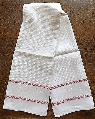 """Antique French Red Stripe Ivory Flax Linen Towel - 36"""" x 20"""""""