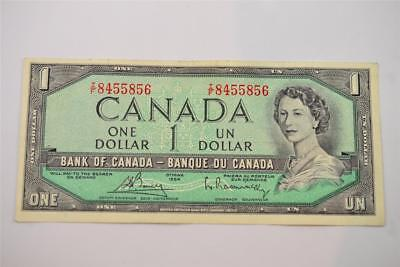 1954 Bank Of Canada $1 One Dollar Bill. T/f8455856. Free Combined Shipping