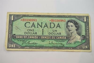 1954 Bank Of Canada $1 One Dollar Bill. *b/m0330983. Free Combined Shipping