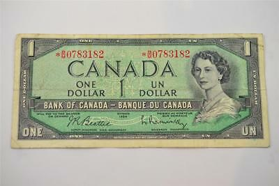 1954 Bank Of Canada $1 One Dollar Bill. *b/m0783182. Free Combined Shipping