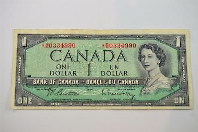1954 Bank Of Canada $1 One Dollar Bill. *b/m0334990. Free Combined Shipping