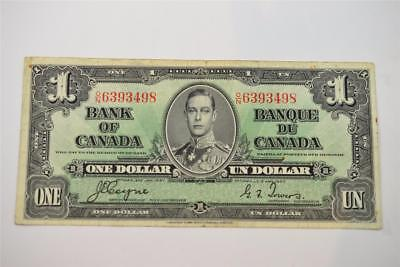 1937 Bank Of Canada $1 One Dollar Bill. O/n6393498 . Free Combined Shipping