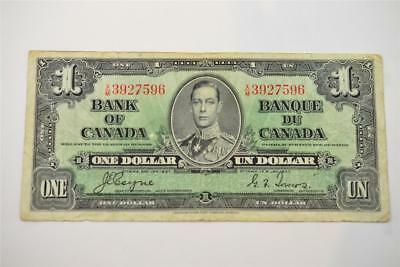 1937 Bank Of Canada $1 One Dollar Bill. X/m3927596. Free Combined Shipping