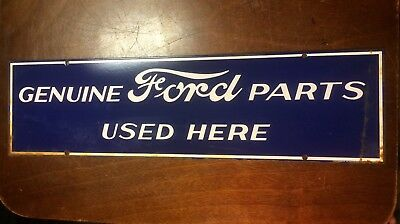 Vintage Genuine FORD Parts Used Here Porcelain Enamel Sign RARE RUSTED 22x6""