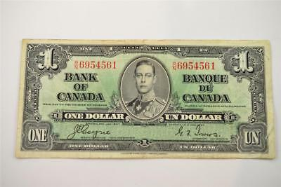 1937 Bank Of Canada $1 One Dollar Bill. R/n6954561 . Free Combined Shipping