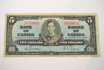 1937 Bank Of Canada $5 Five Dollar Bill. N/c6716931 . Free Combined Shipping