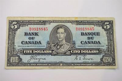1937 Bank Of Canada $5 Five Dollar Bill. B/s0918845. Free Combined Shipping