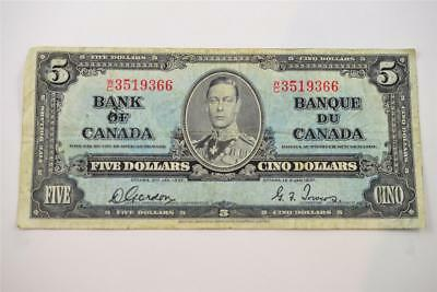 1937 Bank Of Canada $5 Five Dollar Bill. W/c3519366 . Free Combined Shipping