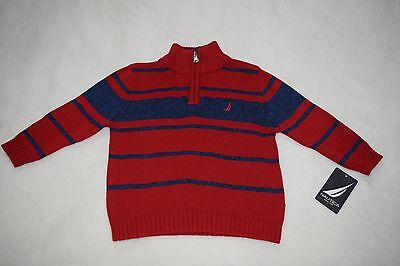 NWT Nautica Baby Boys Quarter Zip Neck Striped Sweater Size 12 Months