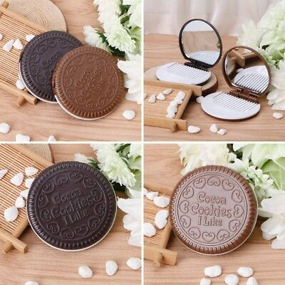 Lovely Pack of 2 Cookie Shaped Pocket Mirror Mini Makeup Mirror With Comb
