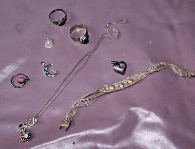 Lot of vintage to modern 925 sterling silver jewelry w precious stones