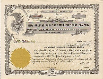 New Orleans Furniture Manufacturing Co Eagle Holds Star & Striped Flag & Shield