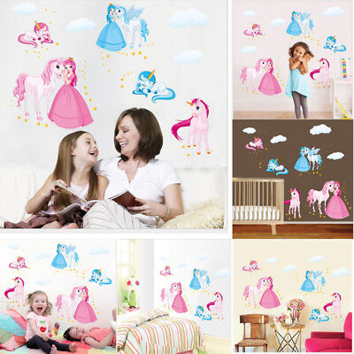 PVC Art Home Room DIY Decor Unicorn Wall Decal Stickers Bedroom Removable Mural