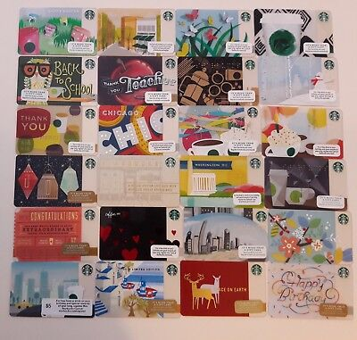 Lot of 24 Starbucks cards includes Chicago, DC & corporate card not in stores!
